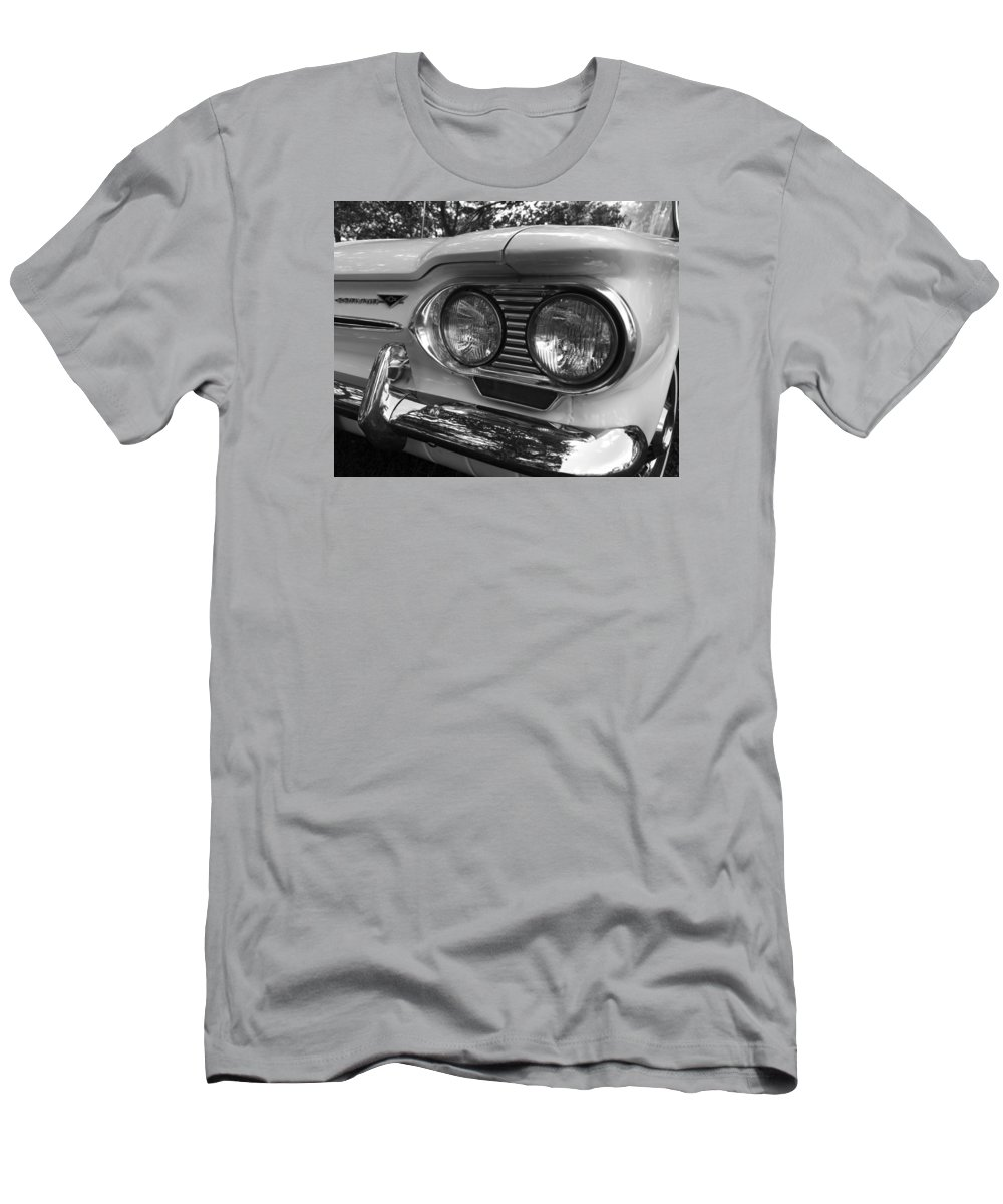 Chevy Men's T-Shirt (Athletic Fit) featuring the photograph Chevy Corvair Headights And Bumper Black And White by Toby McGuire