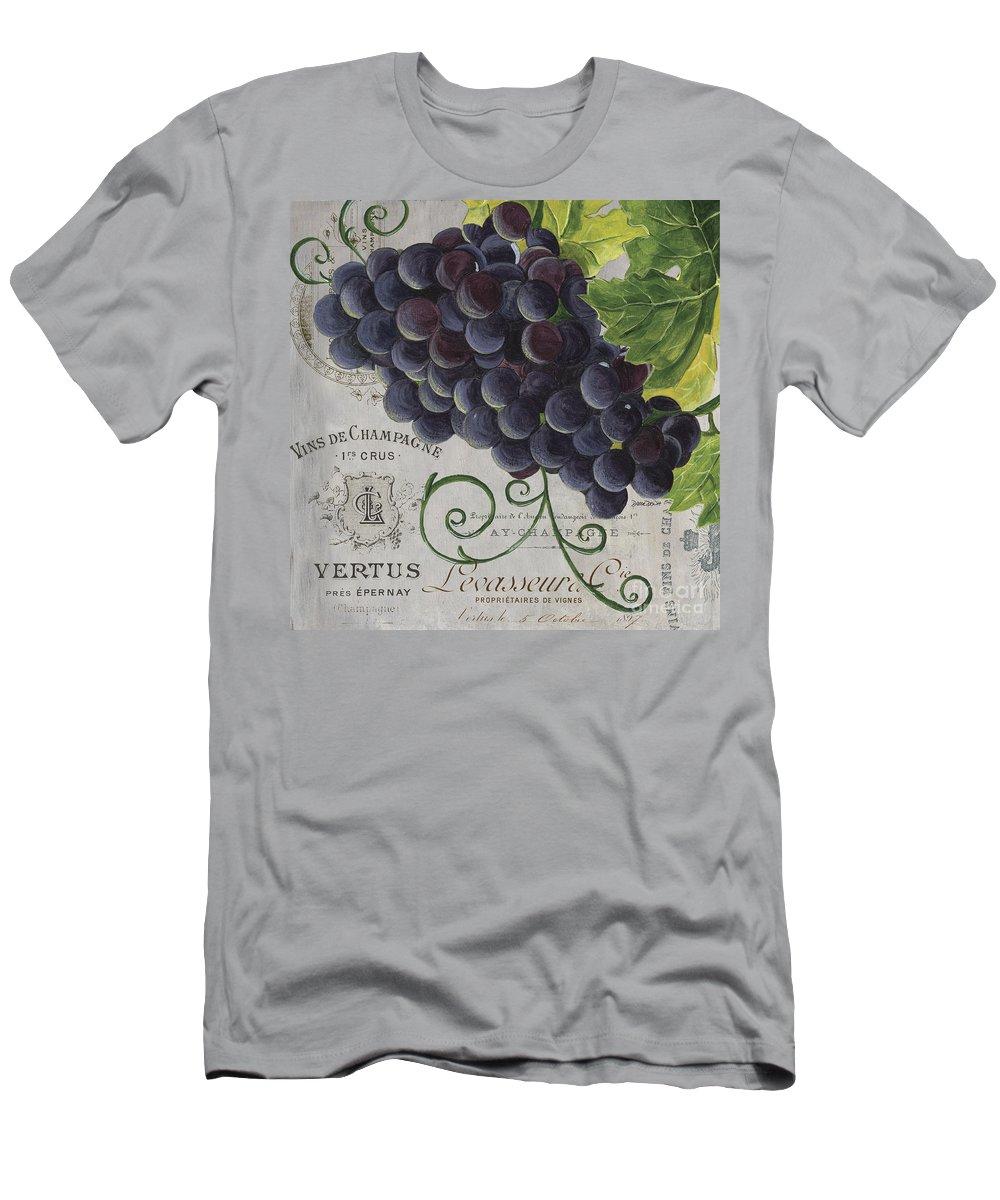 Grapes T-Shirt featuring the painting Vins de Champagne 2 by Debbie DeWitt