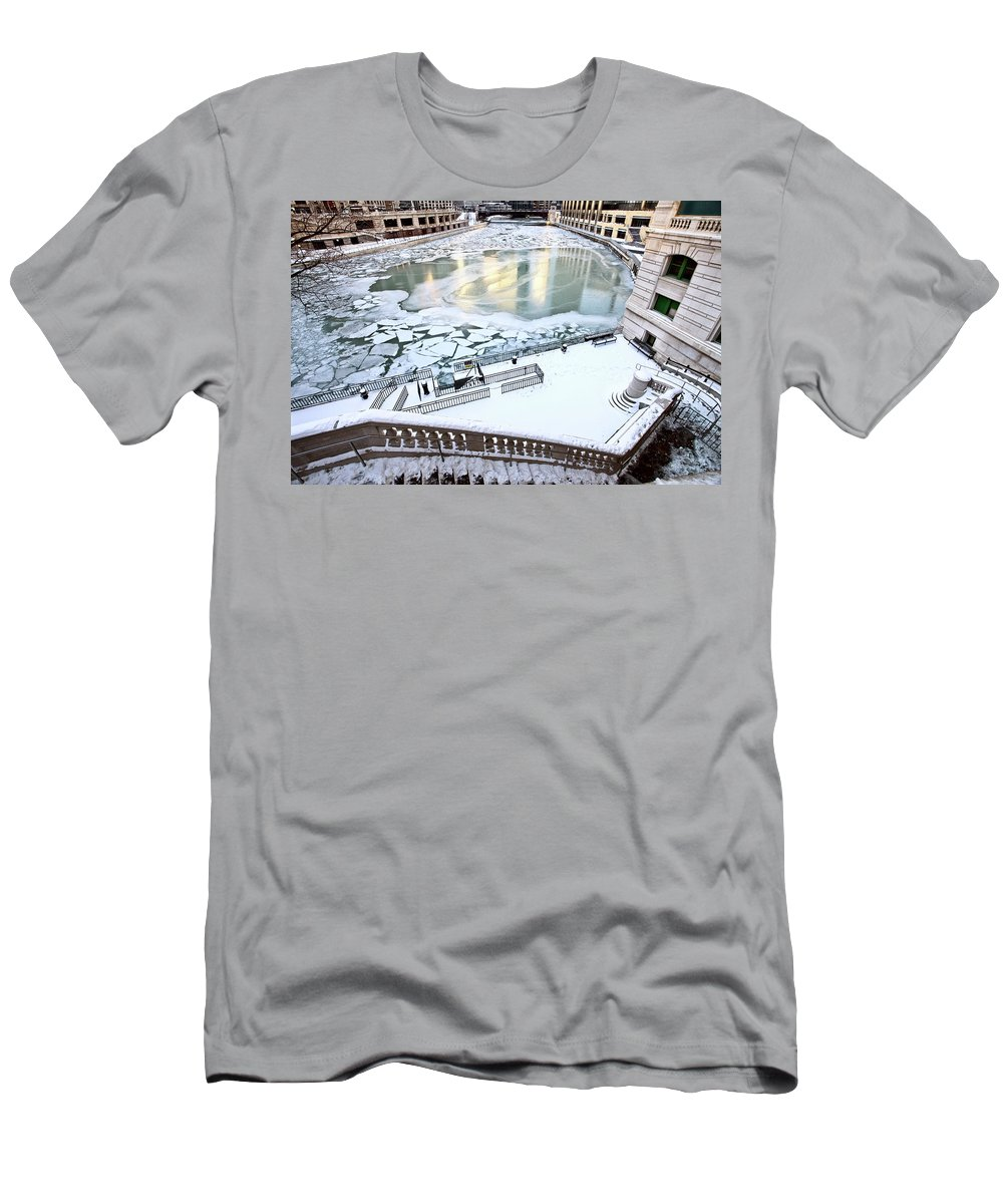 Chicago Men's T-Shirt (Athletic Fit) featuring the digital art Chicago Downtown City by Mark Duffy
