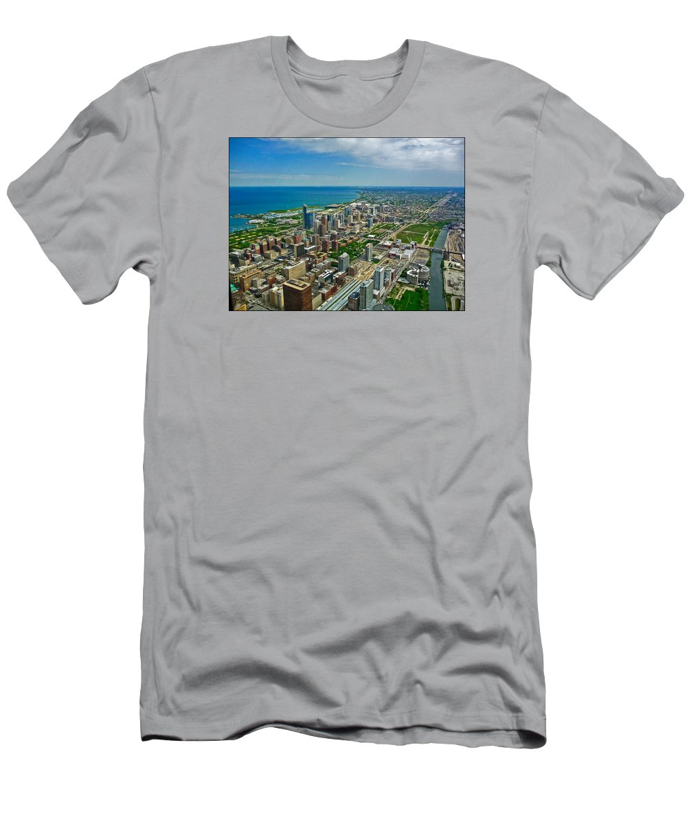 Chicago Men's T-Shirt (Athletic Fit) featuring the photograph Chicago East View by Ginger Wakem