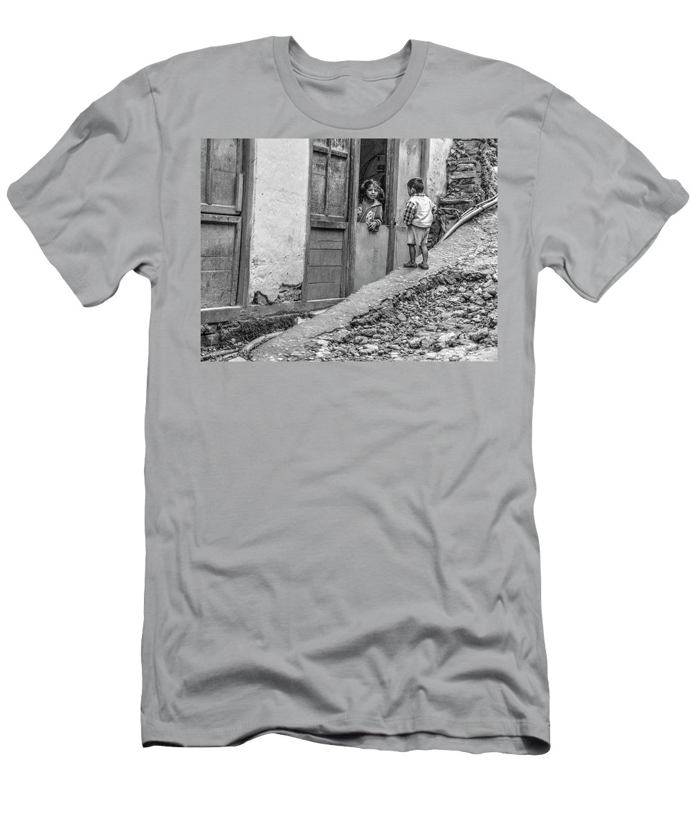 Nepal Men's T-Shirt (Athletic Fit) featuring the photograph Children At Sankhuwasabha, Nepal by Kirk Dearden