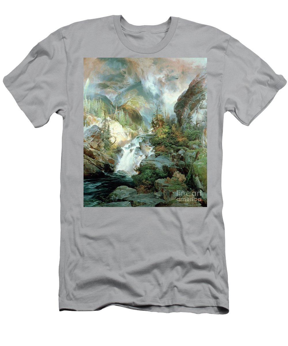 Children Of The Mountain Men's T-Shirt (Athletic Fit) featuring the painting Children Of The Mountain by Thomas Moran
