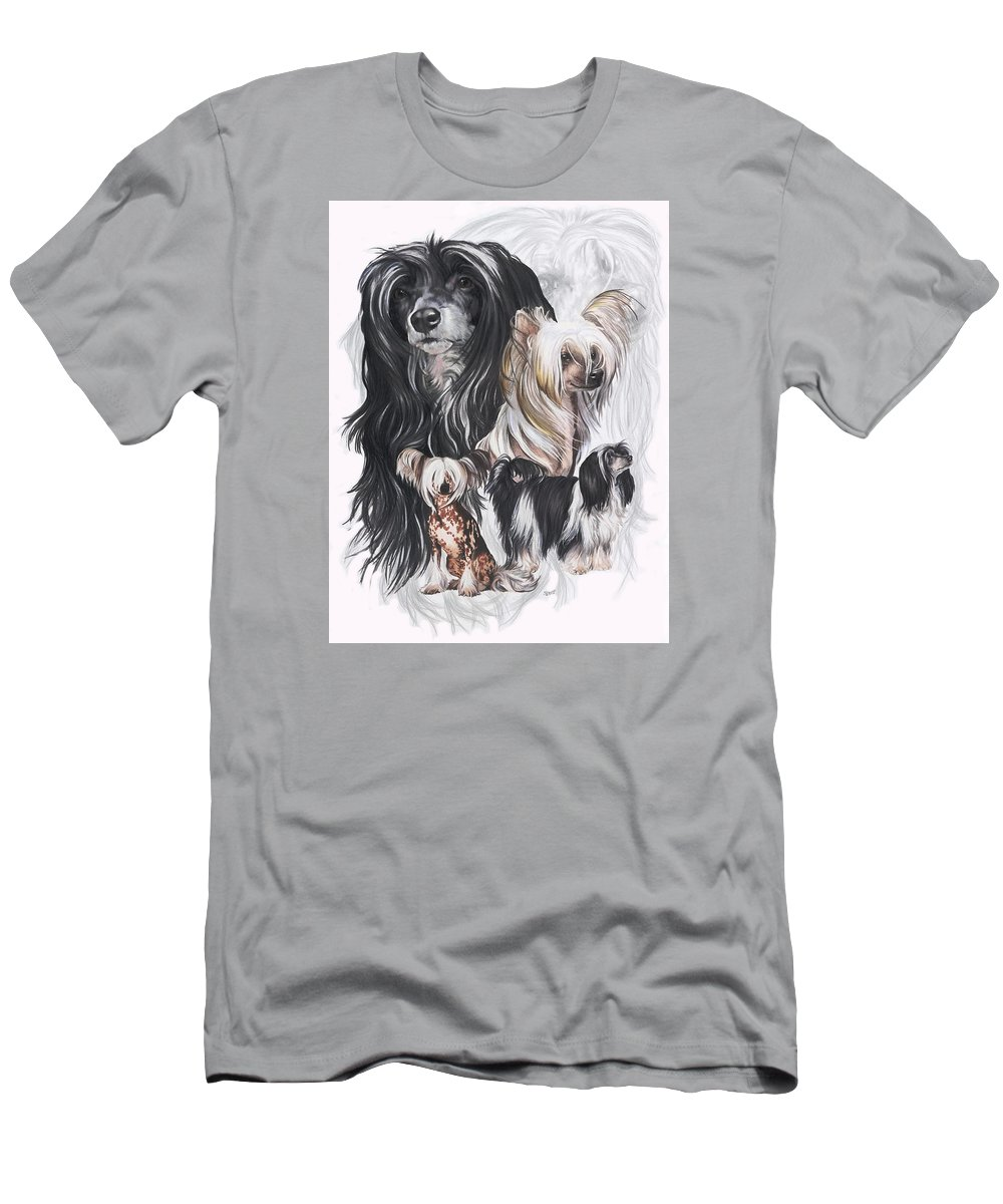Toy Class Men's T-Shirt (Athletic Fit) featuring the mixed media Chinese Crested And Powderpuff W/ghost by Barbara Keith