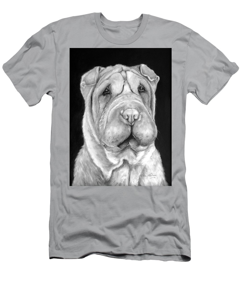Sharpei Men's T-Shirt (Athletic Fit) featuring the painting Chinese Sharpei by Portraits By NC