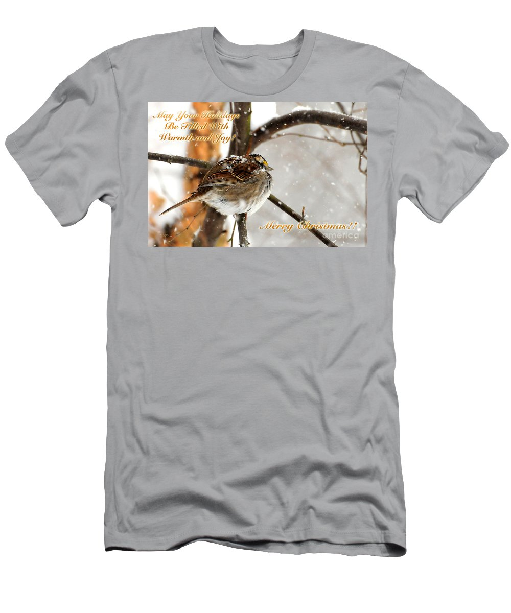 Christmas Men's T-Shirt (Athletic Fit) featuring the photograph Christmas Sparrow - Christmas Card by Lois Bryan
