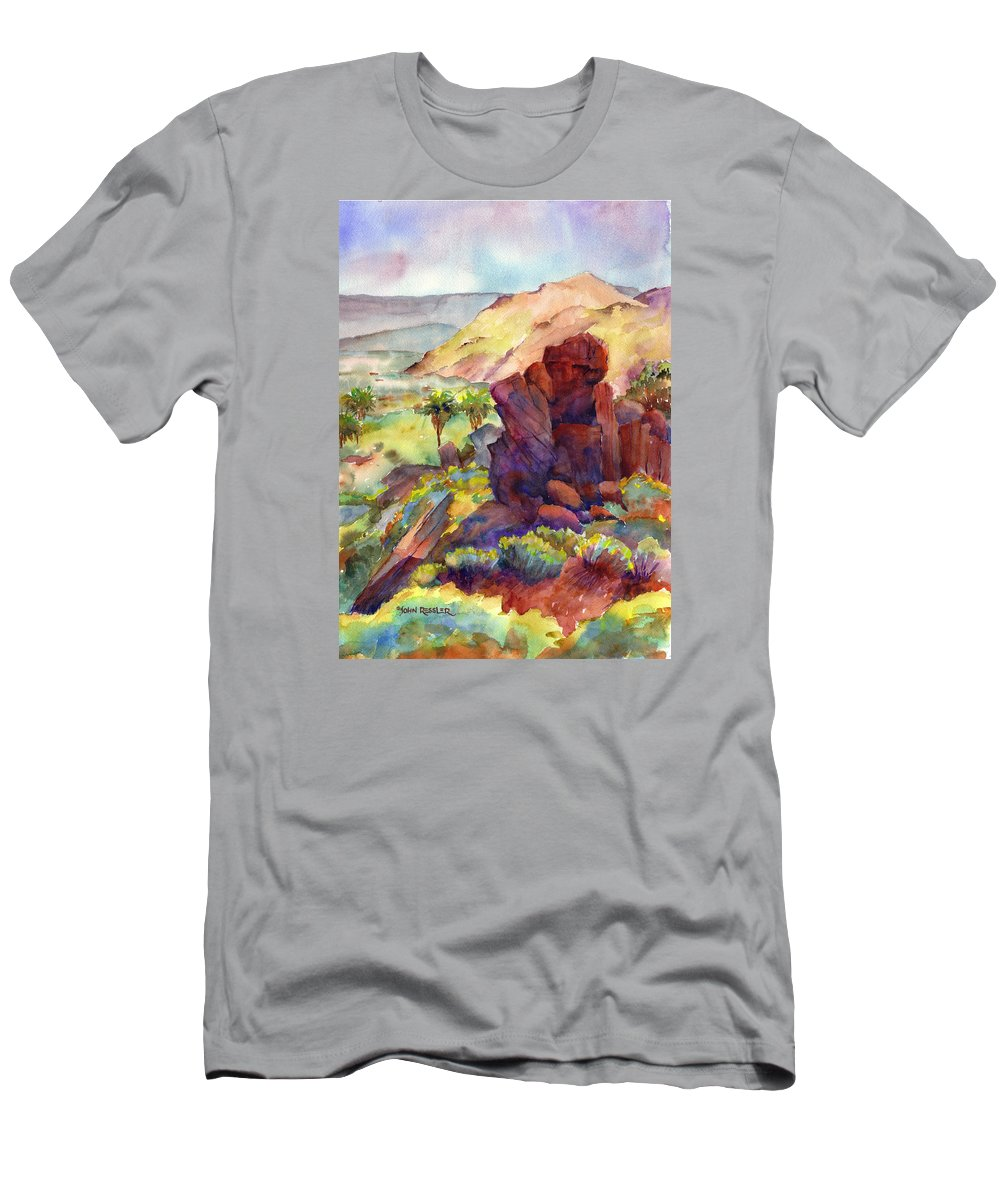 Landscape Men's T-Shirt (Athletic Fit) featuring the painting Chukawalla's Retreat I by John Ressler