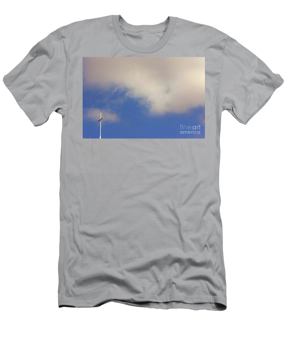 God Men's T-Shirt (Athletic Fit) featuring the photograph Church Steeple With Cross by Alan Look