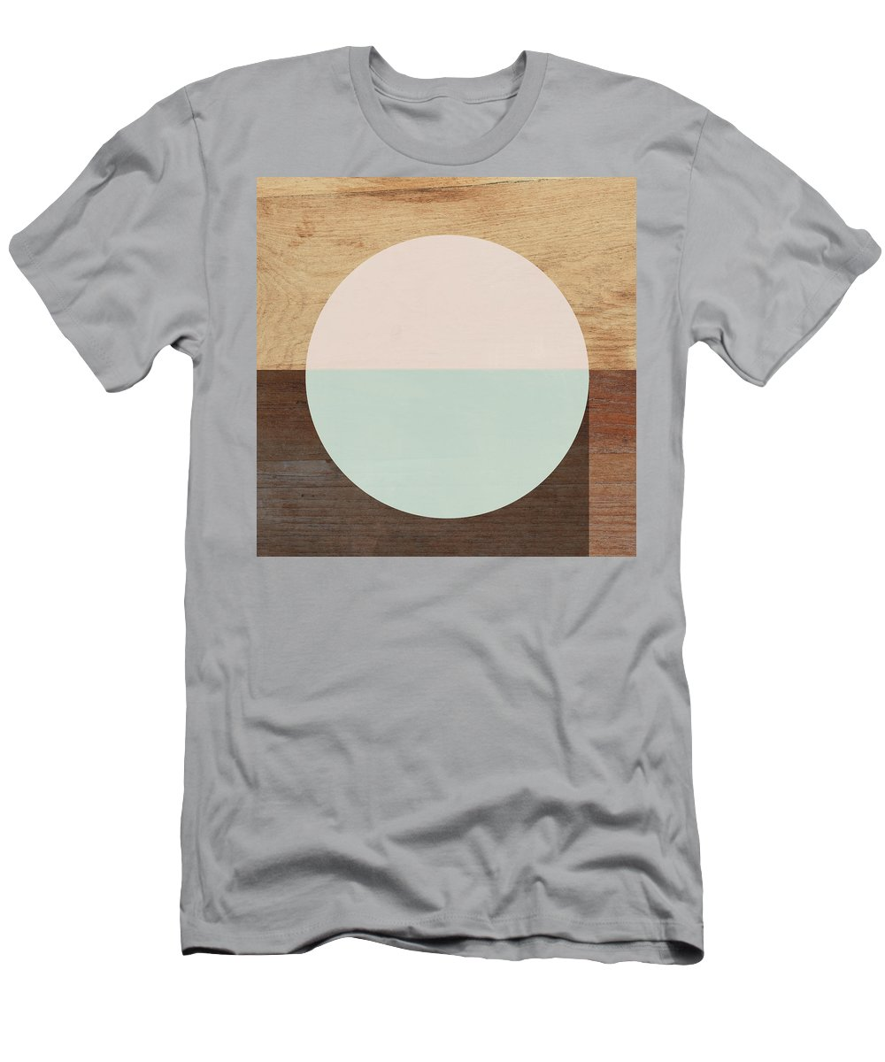 Modern T-Shirt featuring the mixed media Cirkel in Peach and Mint- Art by Linda Woods by Linda Woods
