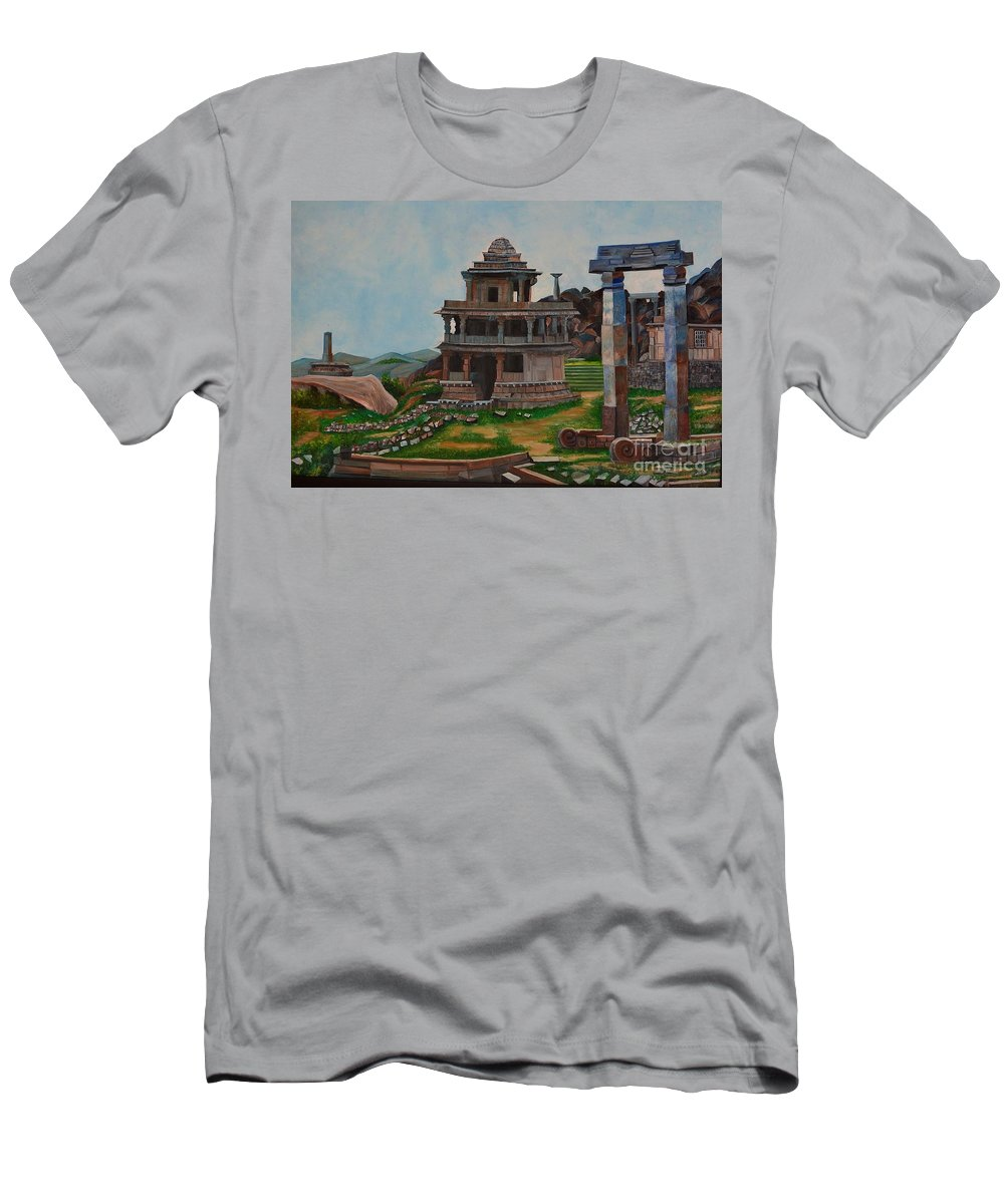 Landscape Men's T-Shirt (Athletic Fit) featuring the painting Cithradurga Fort by Usha Rai