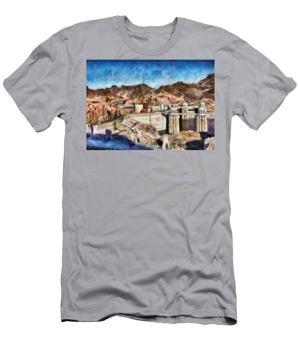 Savad Men's T-Shirt (Athletic Fit) featuring the photograph City - Nevada - Hoover Dam by Mike Savad