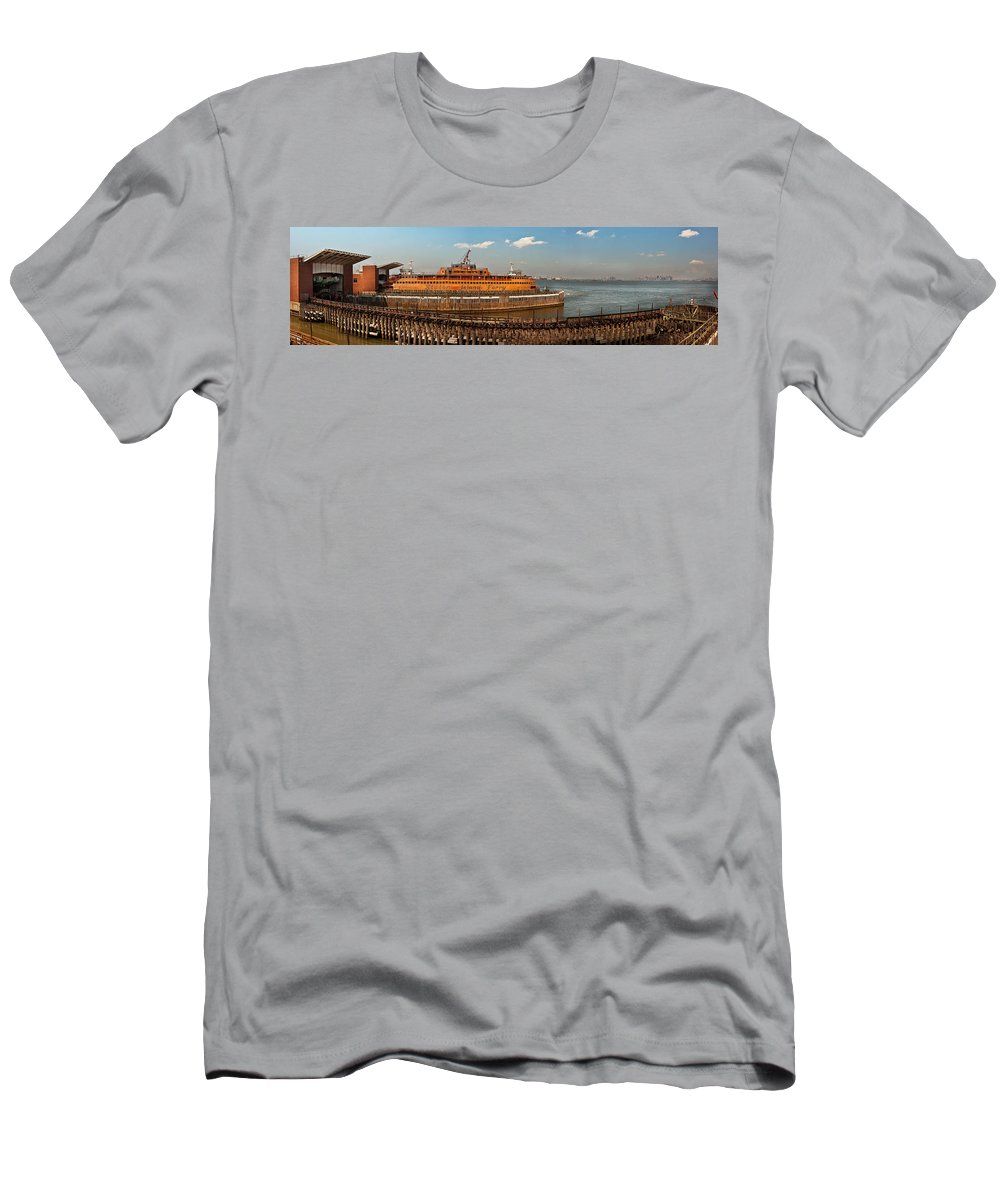 Savad Men's T-Shirt (Athletic Fit) featuring the photograph City - Ny - The Staten Island Ferry - Panorama by Mike Savad