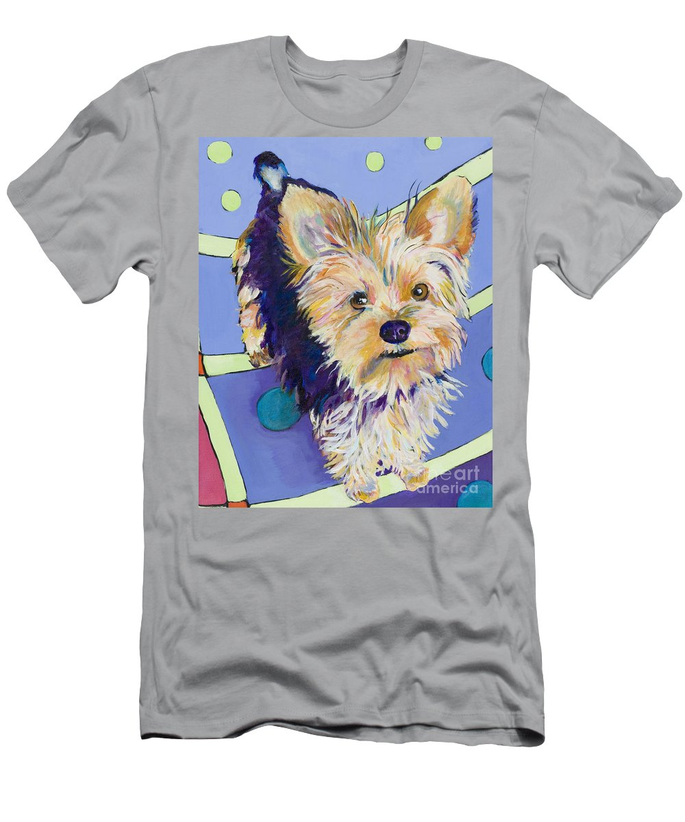 Pet Portraits Men's T-Shirt (Athletic Fit) featuring the painting Claire by Pat Saunders-White