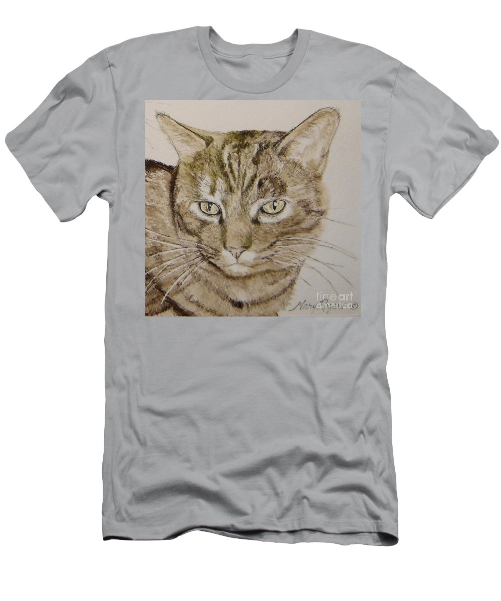 Cat Men's T-Shirt (Athletic Fit) featuring the painting Clarise by Mary Rogers