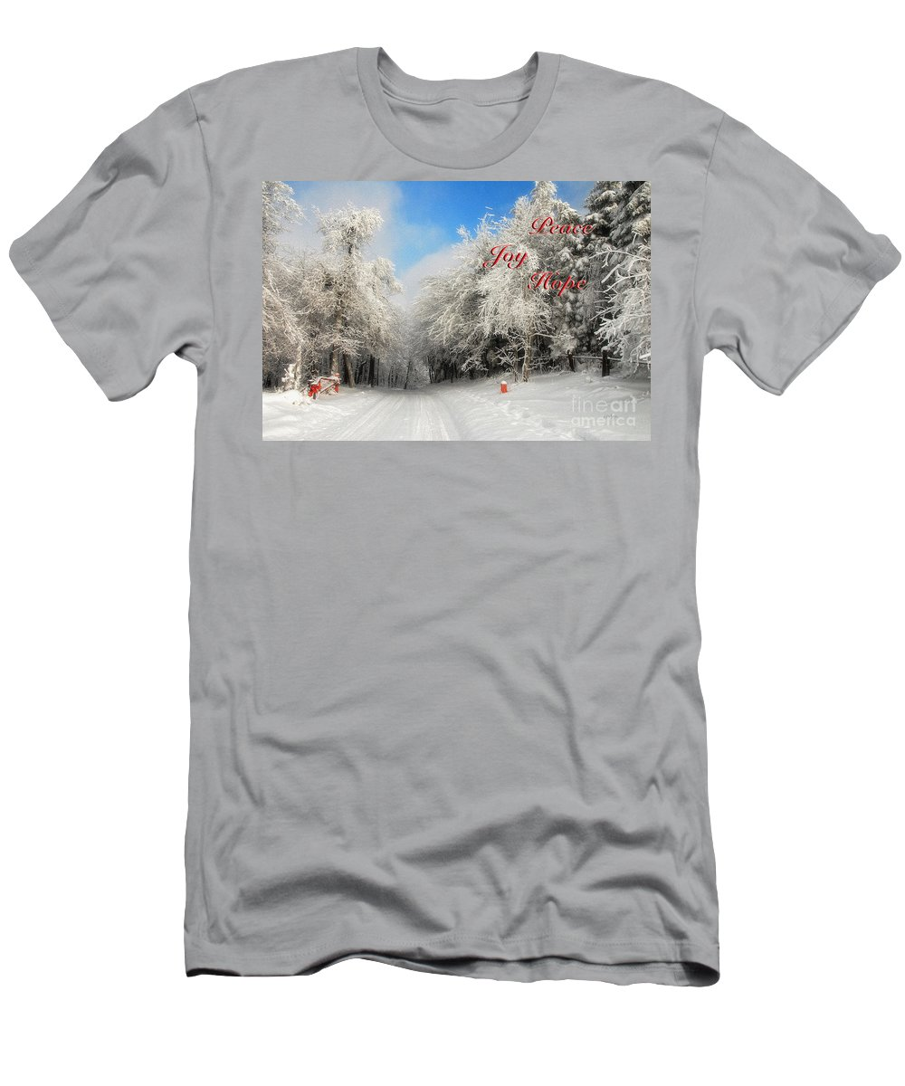 Christmas Men's T-Shirt (Athletic Fit) featuring the photograph Clearing Skies Christmas Card by Lois Bryan
