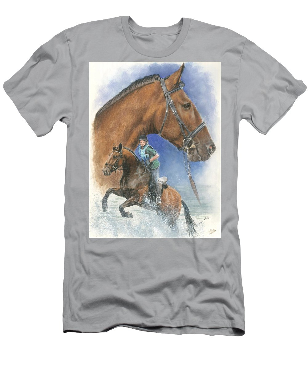 Hunter Jumper T-Shirt featuring the mixed media Cleveland Bay by Barbara Keith