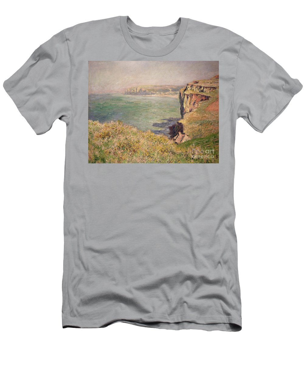Cliff Men's T-Shirt (Athletic Fit) featuring the painting Cliff At Varengeville by Claude Monet