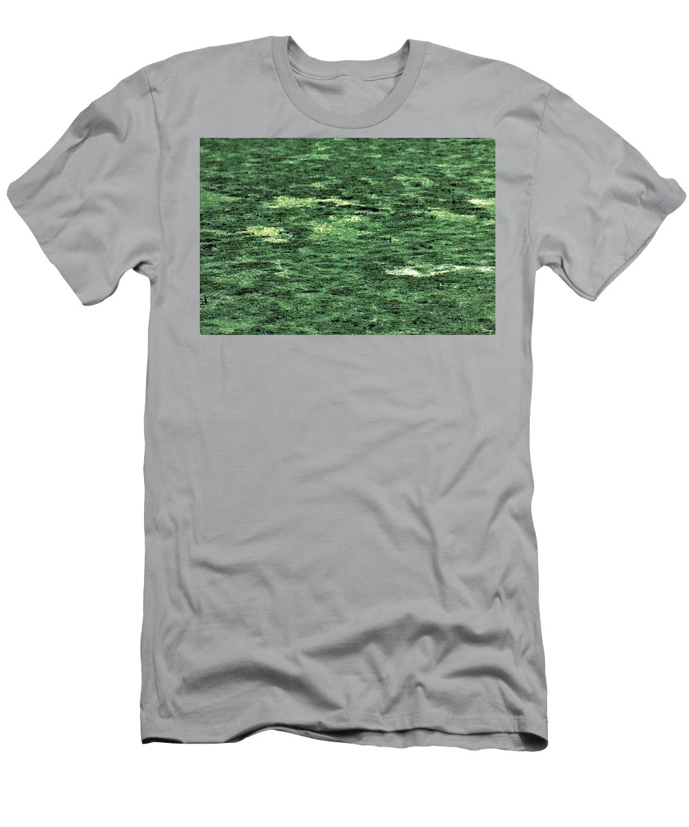 Algae Men's T-Shirt (Athletic Fit) featuring the photograph Close-up Of Scum Pong by Brian Kenney