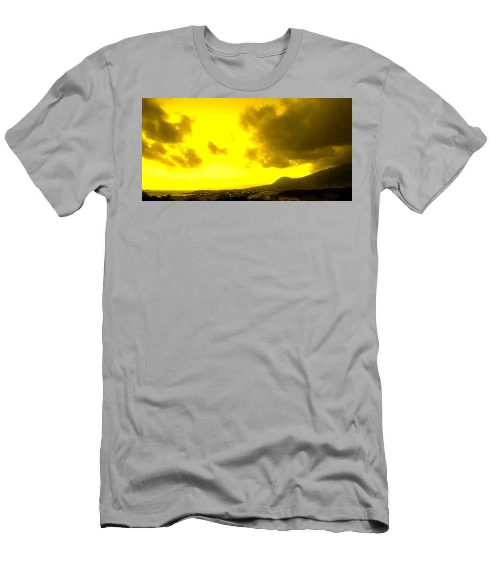 St Kitts Men's T-Shirt (Athletic Fit) featuring the photograph Clouds At Sunset Over Basseterre by Ian MacDonald