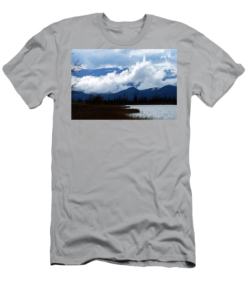 Jasper National Park Men's T-Shirt (Athletic Fit) featuring the photograph Clouds On The Mountains by Larry Ricker