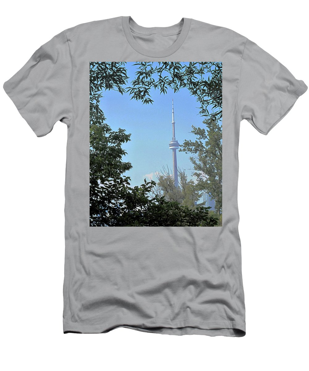 Cn Tower Men's T-Shirt (Athletic Fit) featuring the photograph Cn Tower Framed by Ian MacDonald