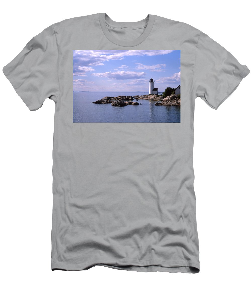 Landscape Lighthouse New England Nautical Men's T-Shirt (Athletic Fit) featuring the photograph Cnrf0901 by Henry Butz