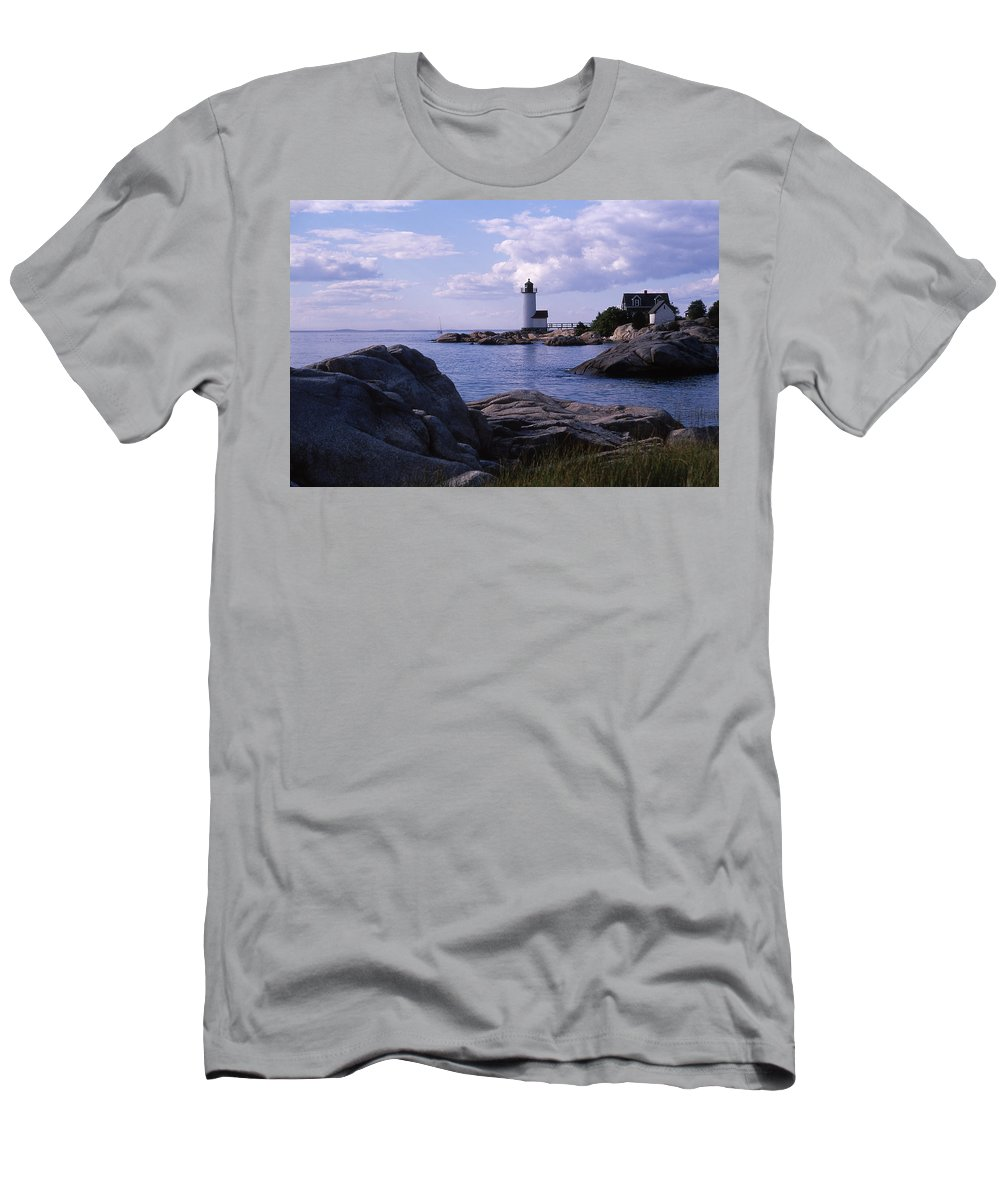 Landscape Lighthouse New England Annisquam Harbor Light Gloucester Men's T-Shirt (Athletic Fit) featuring the photograph Cnrf0903 by Henry Butz
