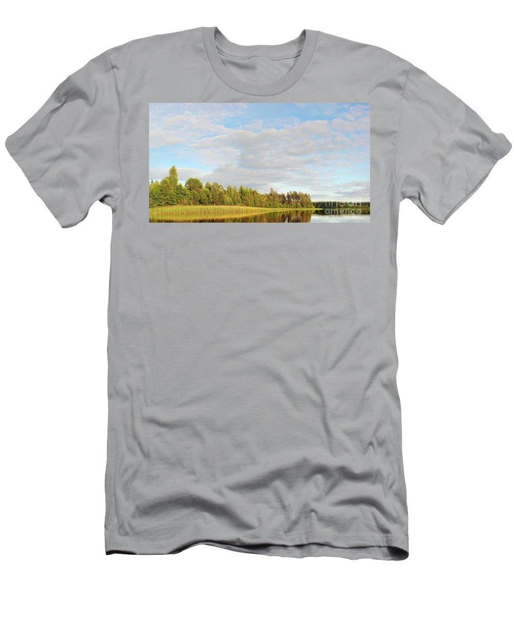 Area Men's T-Shirt (Athletic Fit) featuring the photograph Coast Of Summer Lake Shined With Sun Beams by Vadzim Kandratsenkau