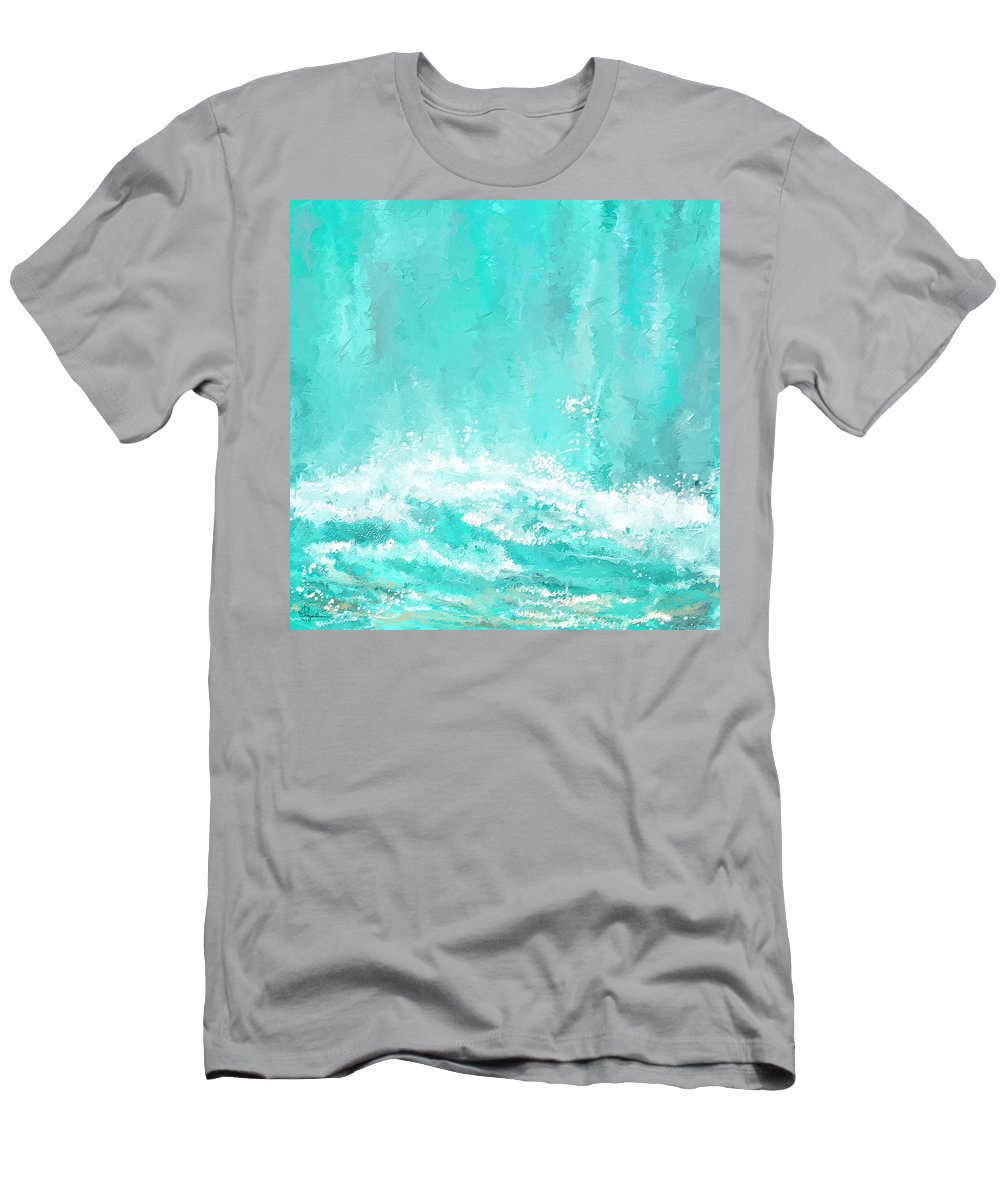 Seascapes Abstract Men's T-Shirt (Athletic Fit) featuring the painting Coastal Inspired Art by Lourry Legarde