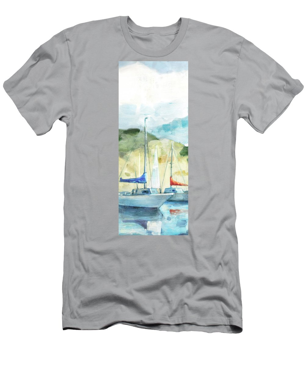 Coastal Men's T-Shirt (Athletic Fit) featuring the painting Coastal Sails by Mauro DeVereaux
