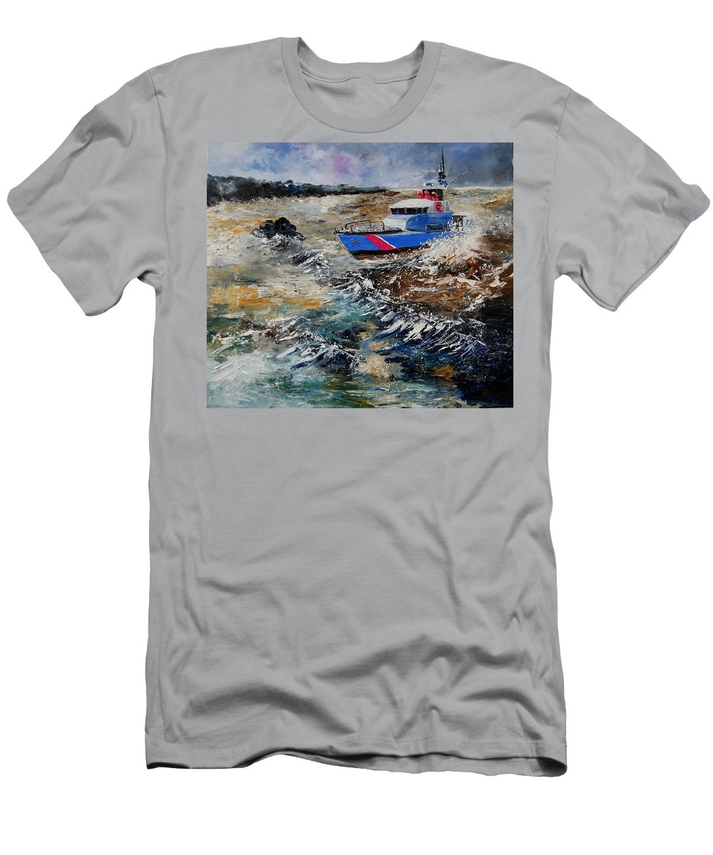 Sea T-Shirt featuring the painting Coastguards by Pol Ledent