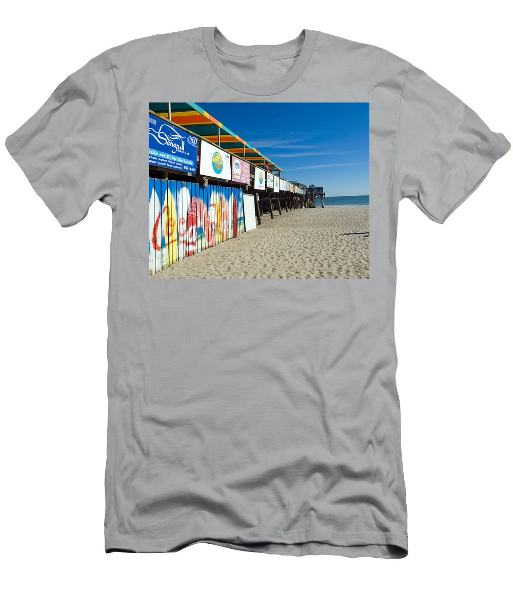 Florida; Cocoa; Beach; Atlantic; Ocean; East; Space; Coast; Brevard; Central; Pier; Surf; Surfing; F Men's T-Shirt (Athletic Fit) featuring the photograph Cocoa Beach Flotida by Allan Hughes
