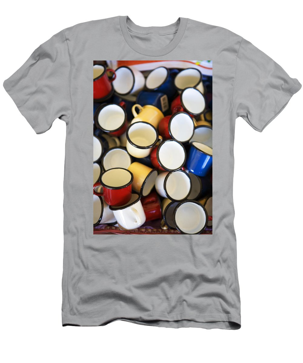 Coffee Men's T-Shirt (Athletic Fit) featuring the photograph Coffee Cups by Marilyn Hunt