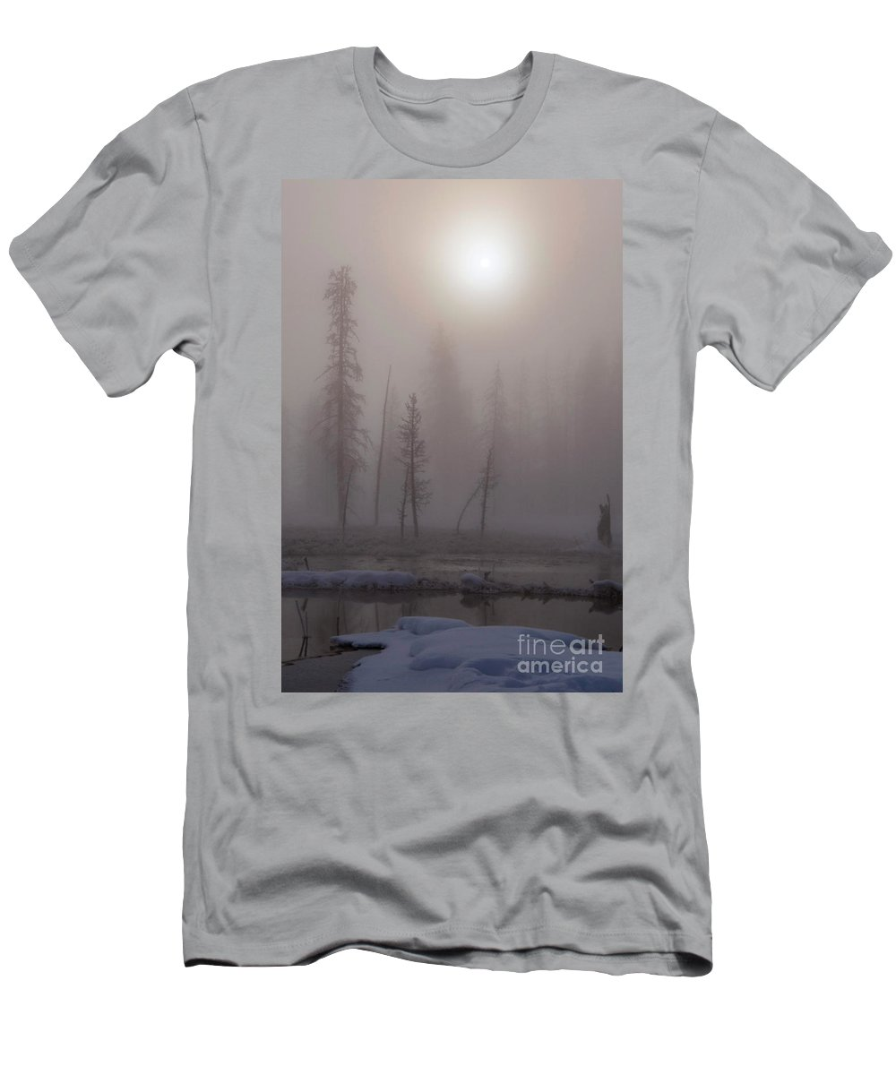Yellowstone National Park Men's T-Shirt (Athletic Fit) featuring the photograph Cold Morning Mist by Bob Phillips