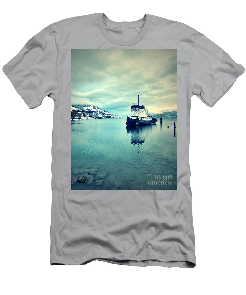 Boat Men's T-Shirt (Athletic Fit) featuring the photograph Cold Reflections by Tara Turner