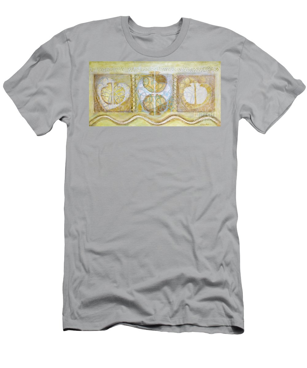 Symbolism Men's T-Shirt (Athletic Fit) featuring the painting Collective Unconscious Three Equals One Equals Enlightenment by Kerryn Madsen- Pietsch