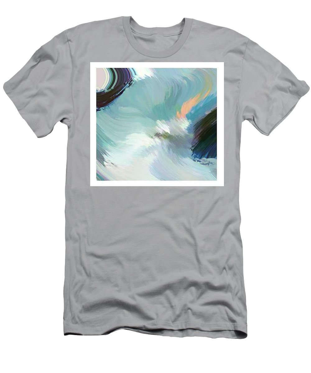 Landscape Digital Art Men's T-Shirt (Athletic Fit) featuring the digital art Color Falls by Anil Nene