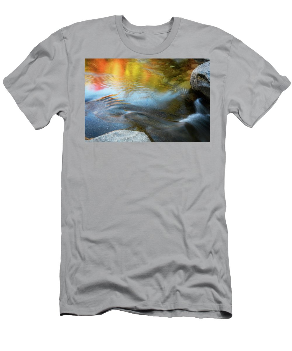 Fall Reflection Men's T-Shirt (Athletic Fit) featuring the photograph Color On The Swift River Nh by Michael Hubley