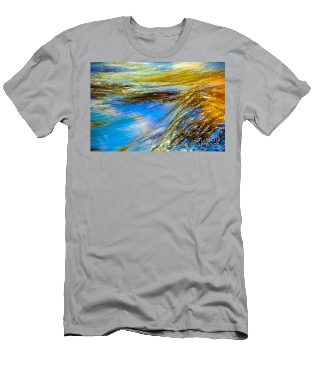 Abstract Men's T-Shirt (Athletic Fit) featuring the photograph Colorful Flowing Water by Bill Brennan - Printscapes