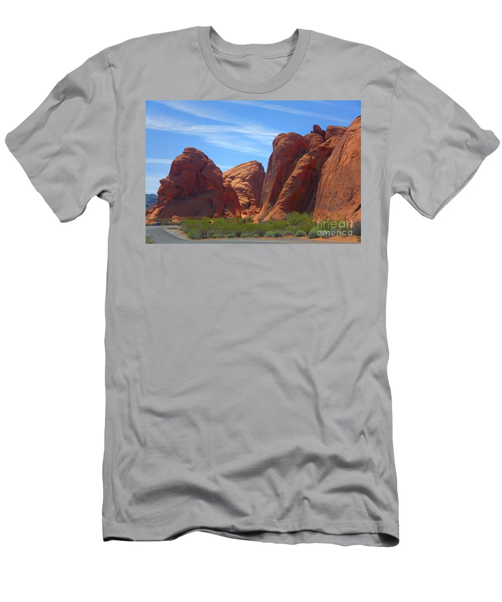 Valley Of Fire Men's T-Shirt (Athletic Fit) featuring the photograph Colorful Landscape Rock Mountains Of Overton Nevada by Chuck Kuhn