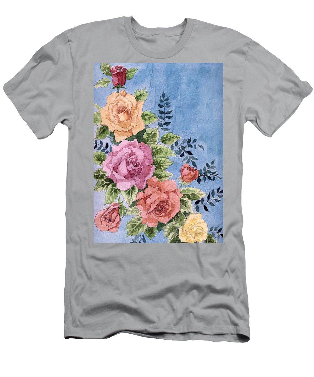 Roses Men's T-Shirt (Athletic Fit) featuring the painting Colorfull Roses by Alban Dizdari