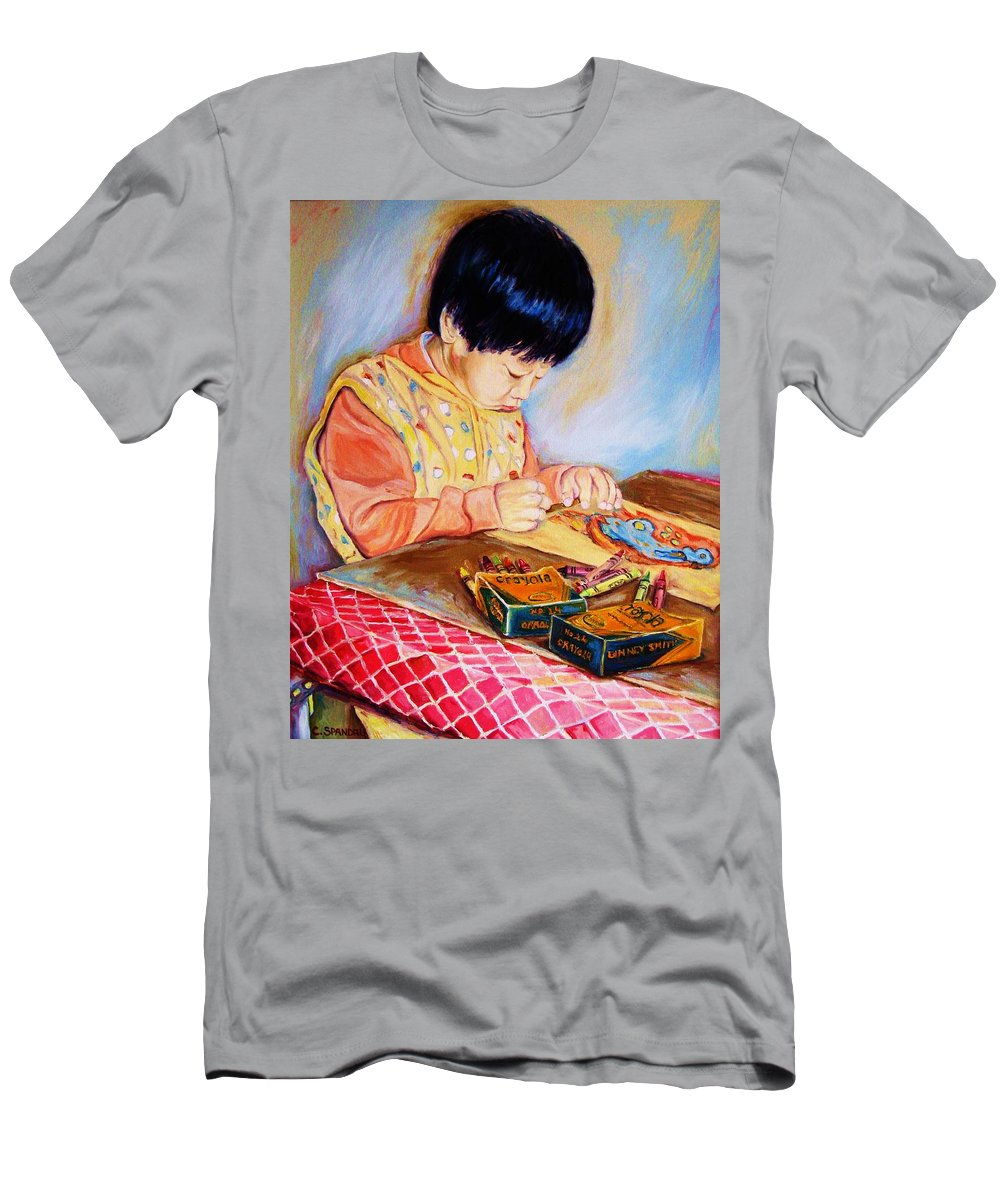 Beautiful Child Men's T-Shirt (Athletic Fit) featuring the painting Commission Portraits Your Child by Carole Spandau