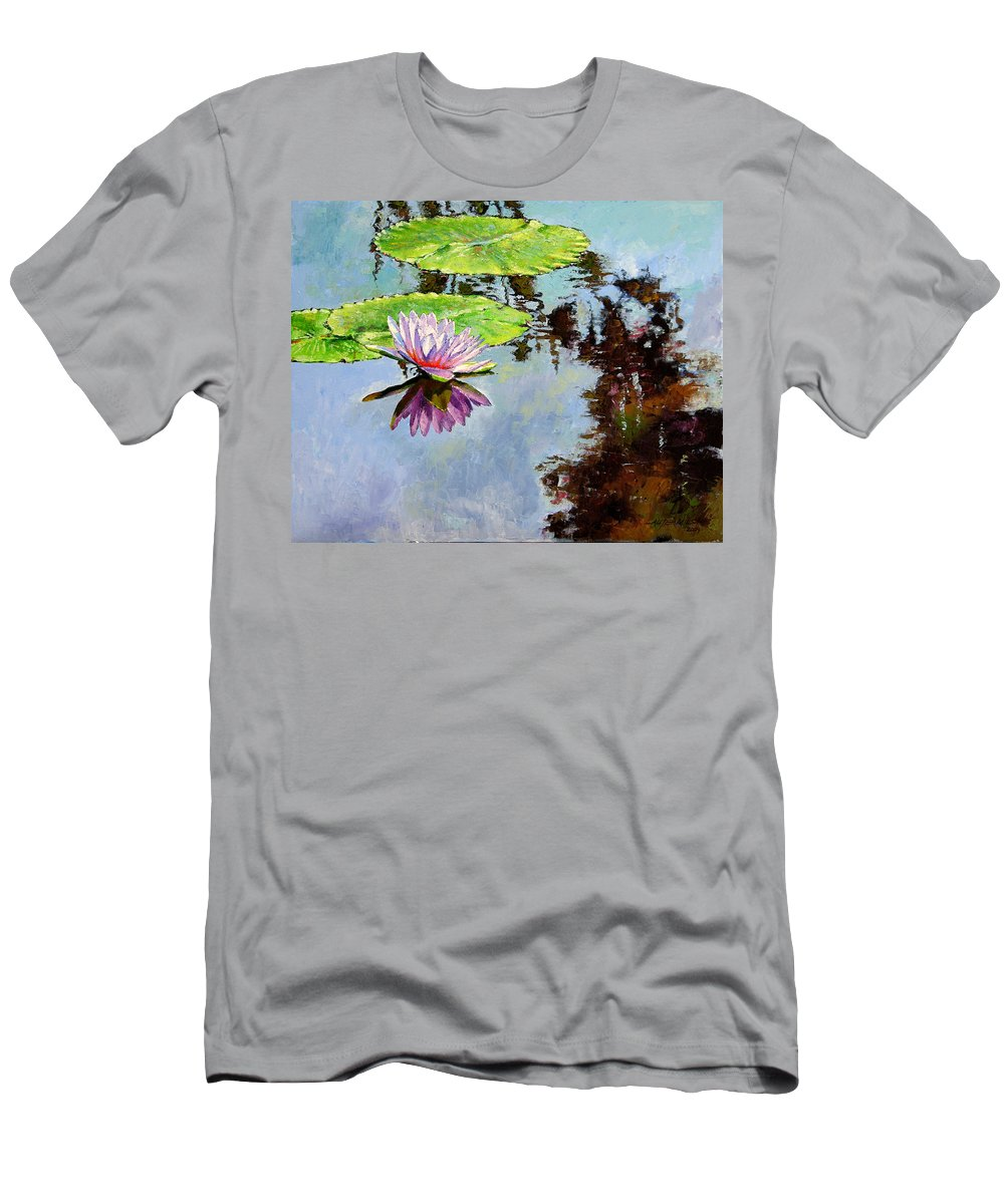 Water Lily Men's T-Shirt (Athletic Fit) featuring the painting Composition Of Beauty by John Lautermilch