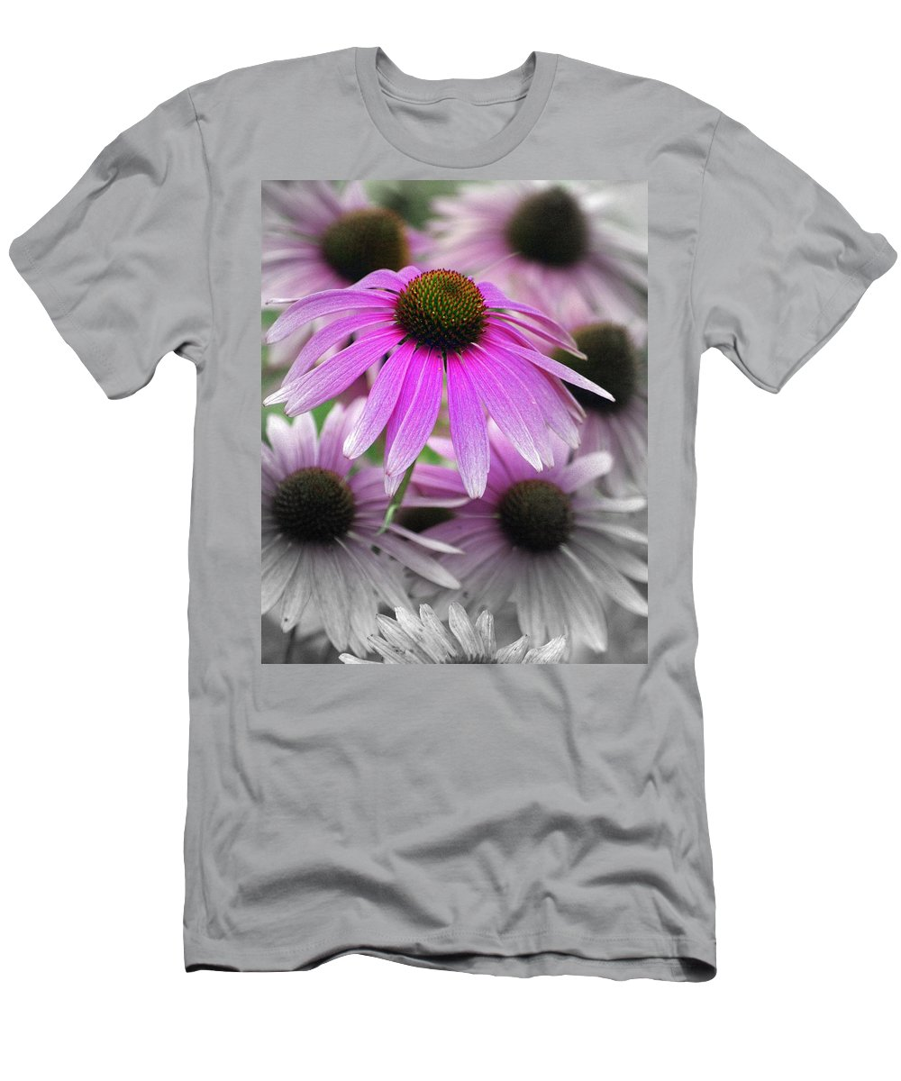 Flowers Men's T-Shirt (Athletic Fit) featuring the photograph Coneflowers by Marty Koch