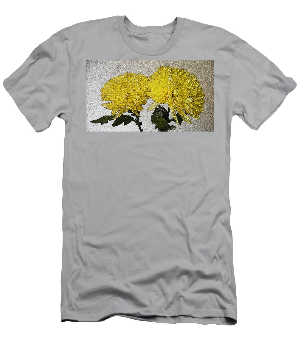 Flowers Men's T-Shirt (Athletic Fit) featuring the photograph Conversations In The Flower Garden by Bobbie Barth