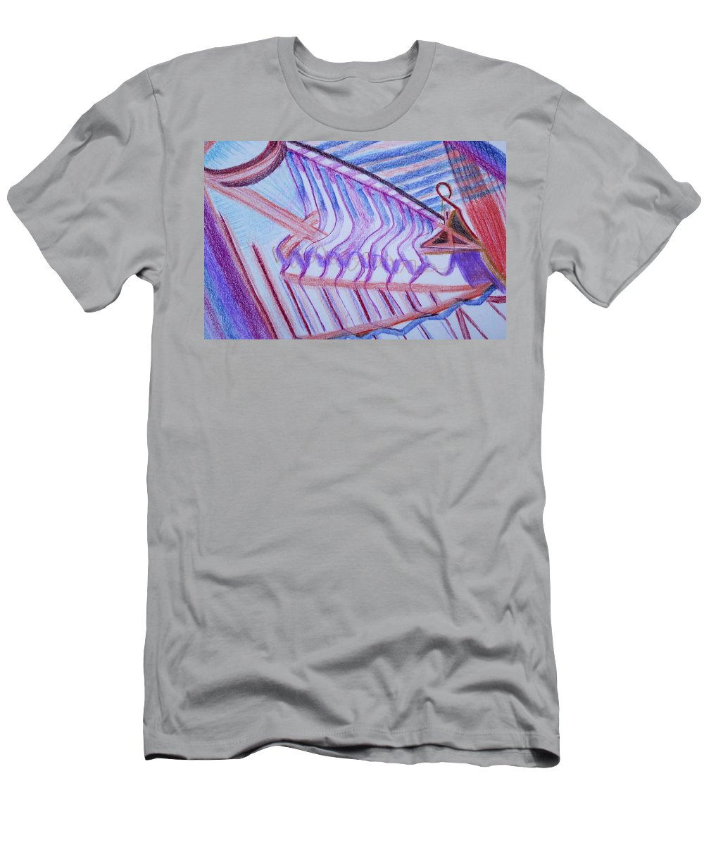 Abstract Men's T-Shirt (Athletic Fit) featuring the painting Construction by Suzanne Udell Levinger