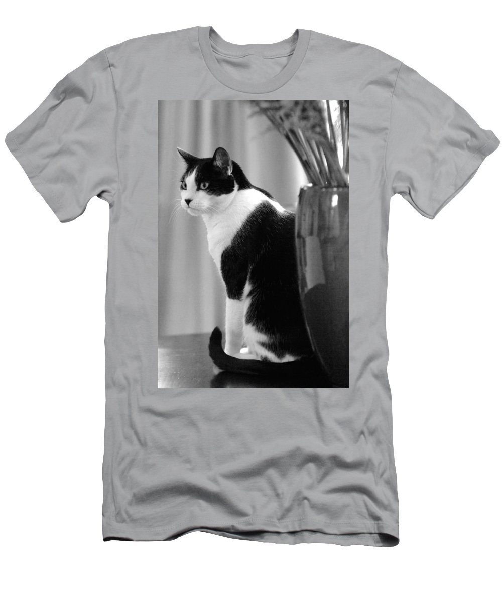 Black And White Men's T-Shirt (Athletic Fit) featuring the photograph Contemplative Cat Black And White by Jill Reger