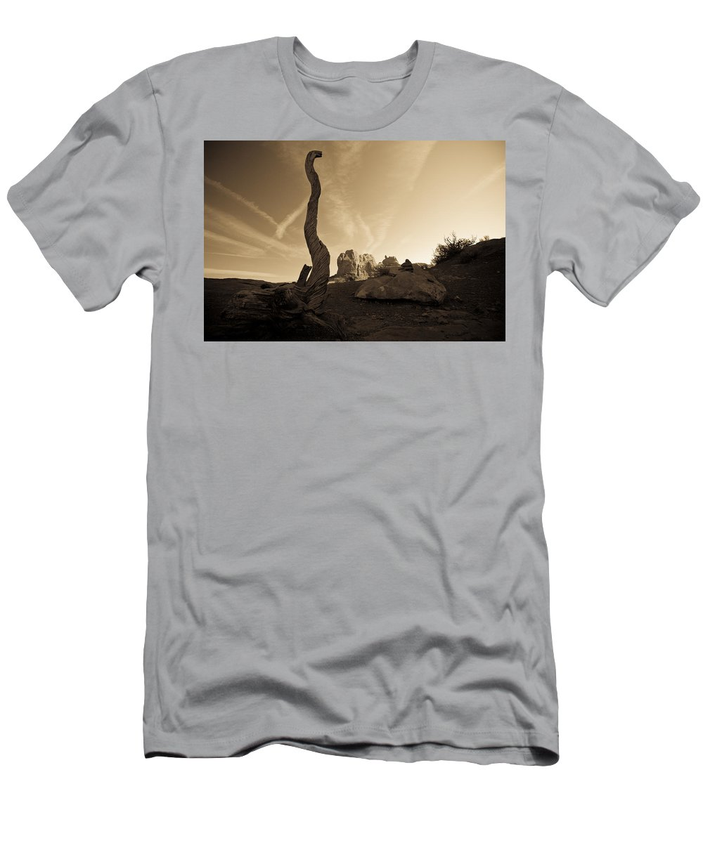 Contrails Men's T-Shirt (Athletic Fit) featuring the photograph Contrails And Driftwood by Marilyn Hunt