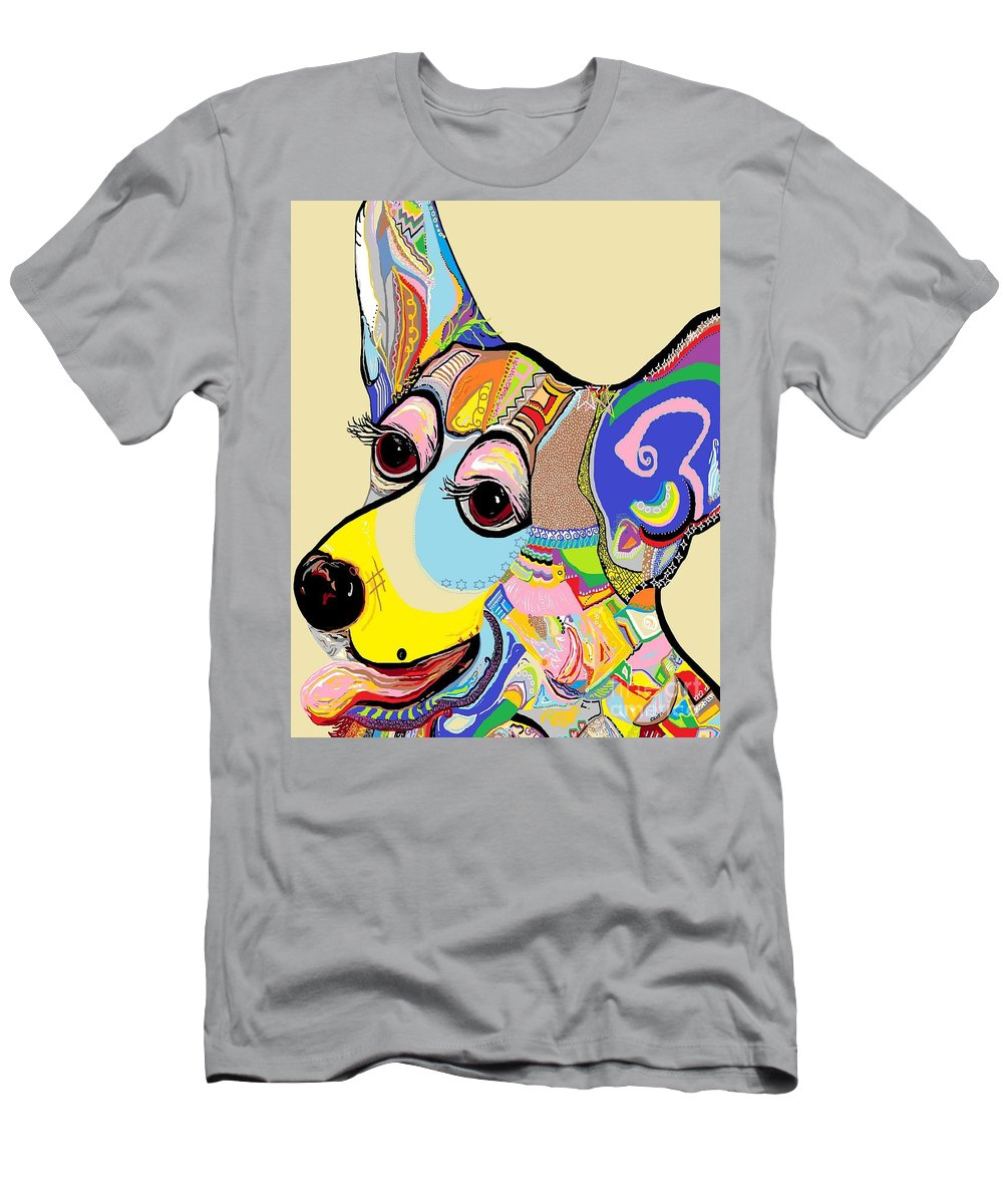 Corgi T-Shirt featuring the painting Corgi Close Up by Eloise Schneider Mote