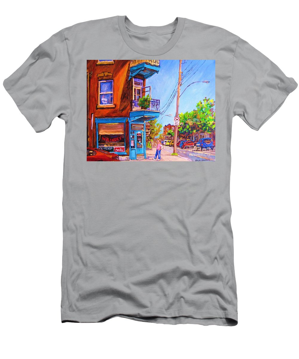 Wilenskys Corner Fairmount And Clark Men's T-Shirt (Athletic Fit) featuring the painting Corner Deli Lunch Counter by Carole Spandau