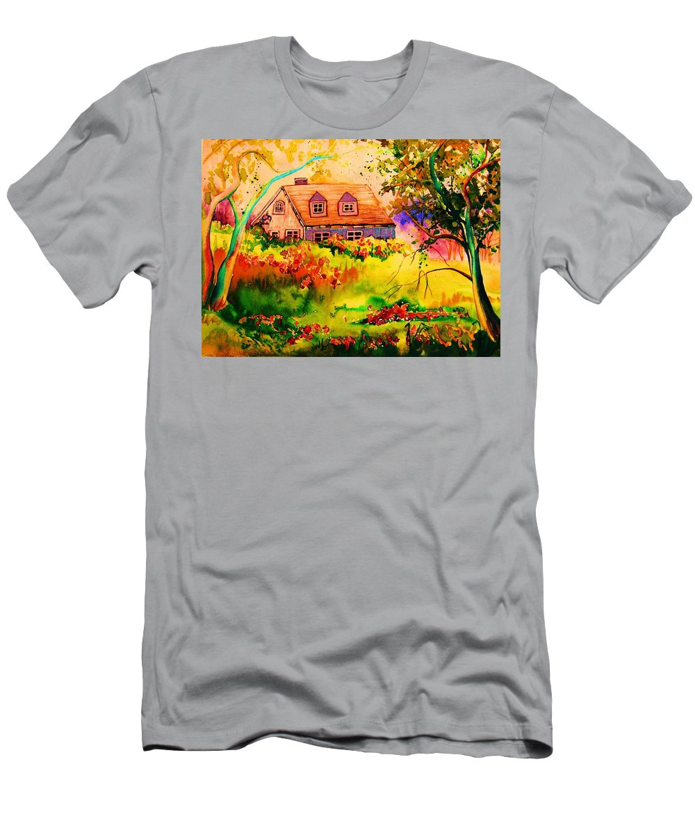 Maine Countryscene Men's T-Shirt (Athletic Fit) featuring the painting Cottage In Maine by Carole Spandau